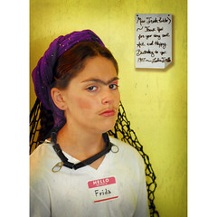serina (dogfaceboy) Tags: girl scarf necklace daughter makeup frida note fridakahlo serena nametag voila artrecreation coveredwithducttape andpoptopcanrings netfromthebackofmytruck hellomynameisfrida madeofaquariumtubing
