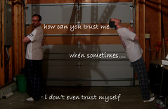 Day 32/ 365 - Don't even bother trusting me. (rustynewman) Tags: selfportrait photoshop cloning falling trust justme postsecrets 10secondtimer 365project