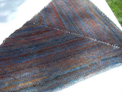Jeanie's Shawl Blocked - in the sun