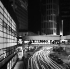 (danise) Tags: city hongkong cityscape nightscape heart noiretblanc footbridge central commercial cbd connectingpeople
