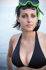 Snorkeling. (drmauro) Tags: sea portrait france girl seaside snorkeling swimsuit ritratto primopiano maschera esterel