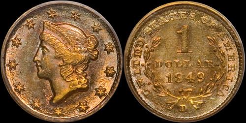 1849-D Gold $1.00 PCGS MS62