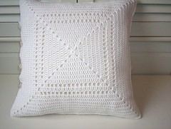 Crochet cushion cover (baban cat) Tags: handmade crochet cotton organic cushion shabbychic organiccotton grannysquares vintagebuttons cushioncover