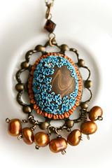 forget-me-not pendant front view (Chili Crab) Tags: flowers blue brown bronze gold one chili crystal handmade ooak crab jewelry kind fimo clay pearl etsy brass 2009 pendant freshwater filigree polymer swarovsky