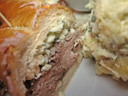 Cole's: Roast Pork French Dip Sandwich with Blue Cheese and Bacon Potato Salad