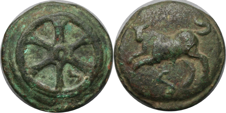24/4 #0106-140 Aes Grave Roma-Wheel series, Bull Wheel Semis