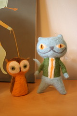 Mr. Owl and Uncle Rutherford felted action figures (matte stephens) Tags: wool funny needlefelted mattestephens