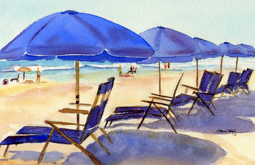 Beach Chairs, watercolor painting