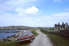 Roadside Ford Escort, with Red Number plate, Inishbofin Island, Aug 1994