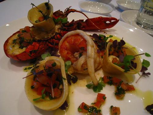 Grilled Marron, Thyme & Goat's Cheese Tortellinis, Saffron Vierge