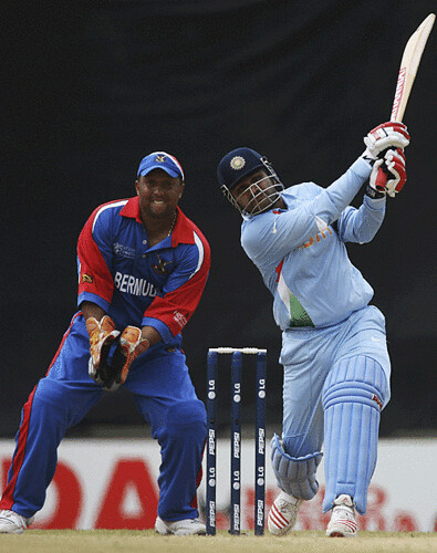 Virender Sehwag on his way to blistering hundred and helped India to cross 400 India vs Bermuda Port of Spain Trinidad WC 2007