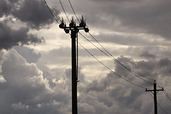 Electricity... (kasia-aus) Tags: sky silhouette wire australia pole electricity canberra act