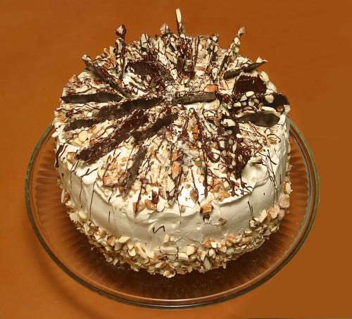 Almond Praline Cake With Mascarpone Frosting And Chocolate Bark ...