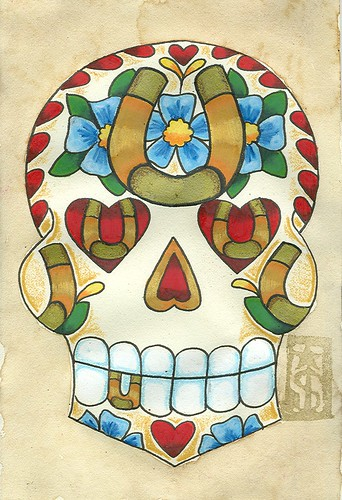 31 Horseshoe Sugar Skull (Danger S. Jones) Tags: blue flower tattoo