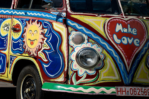 Hippie VW bus in Europe