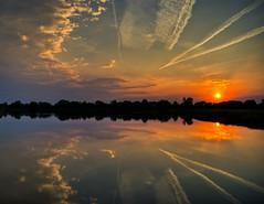 Sunset & Con Trails Reflecting On Lake (helikesto-rec) Tags: sunset ohio lake reflection contrails hdr 5xp top25redorangeyellow