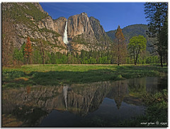 Yosemite Falls from Swinging Bridge (iCamPix.Net) Tags: california mountains love reflections landscape nevada tourists explore granite sierranevada soe lowerfalls professionalphotographer yosemitevalley tuolumnemeadows mostviewed upperfalls swingingbridge mariposacounty canonef2470mmf28l 7839 platinumphoto canoneos1dsmarkiii mostbeautifullake mostwatched icampixtechnologylevelii yosetiefalls highestwaterfallinnorthamerica majorattraction yosemitefallsreflections