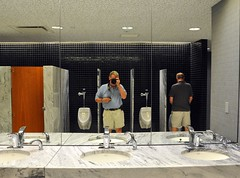Men's Room (ricko) Tags: reflection me mirror bill kansascity urinals toilets sinks peeing reflectedselfportrait mensroom worldwarimuseum