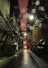 Alley Drizzle (Mike Cialowicz) Tags: longexposure urban mist brick wet rain boston night dumpster ma droplets alley nikon massachusetts bricks droplet dumpsters backbay vr drizzle bostonist d90 1685 cotcmostinteresting bostonistcom 1685mmf3556gvr 1685mmvr