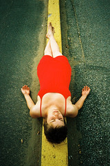 The thin yellow line (Benoit.P) Tags: portrait woman canada color art film canon vintage 1 xpro montral mtl quebec crossprocess femme retro iso stop 400 pro push analogue 40mm ektachrome fille canonet ql17 troisrivires f17 benoitp