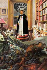 monk series #6 (bezembinder) Tags: collage cross library smoke fear monk darwin books galapagos papercut vulcano fearless heroe bezembinder origenofspecies