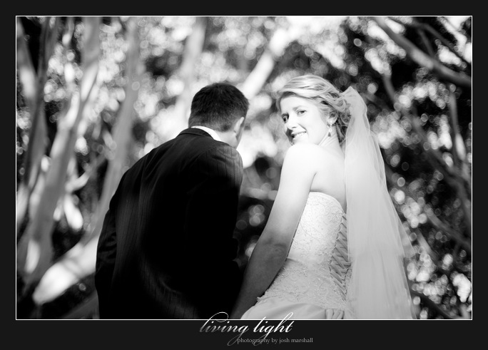 Bride looks back. Newcastle wedding photography.