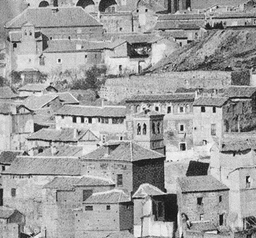 Iglesia de San Cipriano en 1872. Detalle de una fotografía de Jean Laurent