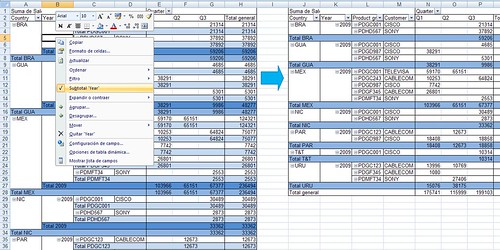 ocultar subtotales pivot table Microsoft Office Excel 2007