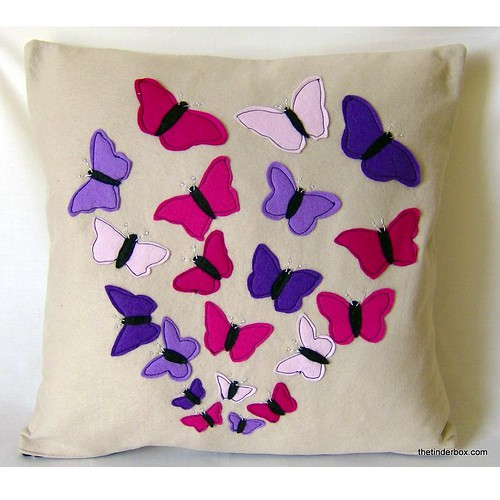 Cloud of Butterflies Pillow in Pink and Purple