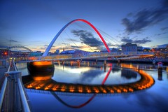 This is Newcastle Upon Tyne.....! (i.rashid007) Tags: uk england evening millenniumbridge gateshead bluehour northeast newcastleupontyne quayside rivertyne