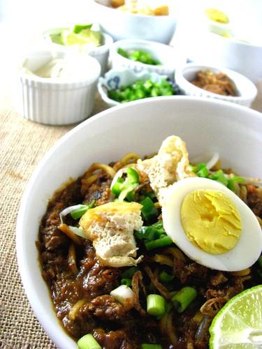 Mee rebus - yellow noodles in sweet potato gravy | high over happy