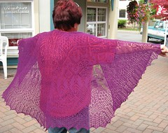 Lynsie modelling Eileens Goddess Knits Mystery Shawl for this year