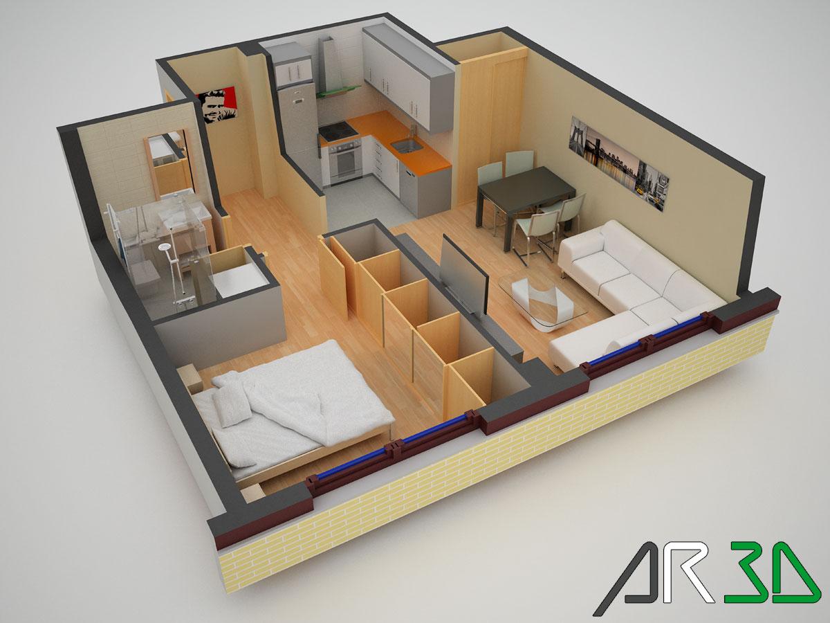 Blog Arquitectura-Rioja3D: Infografia de un estudio o apartamento