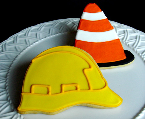 Construction helmet safety cone decorated iced cookie