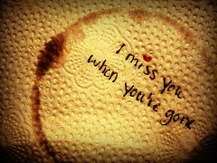 I Miss You When You're Gone.2 (Silent Orchestra) Tags: red love coffee stain dark heart napkin missyou miss redheart coffeestain silentorchestra whenyouregone laughlovehope imissyouwhenyouregone