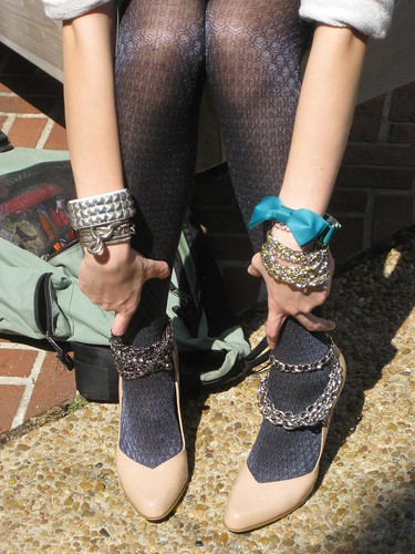 Misc chain belts/bracelets worn on shoes and wrists, F21; Studded cuff, Wet Seal; Bow Chain, DIY
