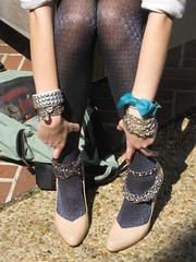 chain accessories details (sequinfishbait) Tags: tights chainbracelets nudeheels