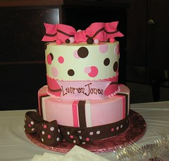 Lauren Jones Baby Shower Cake (mandotts) Tags: pink brown white girl strawberry chocolate circles stripes banner polkadots bow vanilla ribbon dots fondant buttercream gumpaste babyshowercake sugarpaste