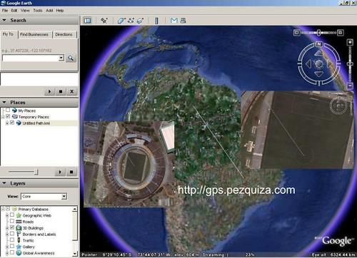 Linha tracejada indicando o local até o satélite Amazonas.