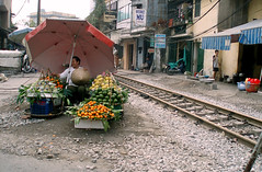 fruit tracks (Ruan // Nice One) Tags: traintracks vietnam hanoi fruitseller worldtripbum