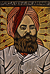 Mirza Ghulam Ahmad (Lisa Brawn) Tags: portrait art illustration painting religious graphics lisa popart leader ahmad woodcut brawn mirza ghulam
