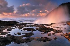 Get or Get Got (Michael Bollino) Tags: ocean sunset sea reflection nature wet clouds oregon landscape nikon spray oregoncoast splash thewire d300 cookschasm michaelbollino