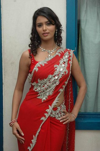 Beautiful Women Actress with Red Saree Cloth