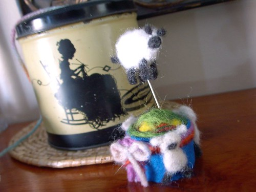 Sheepy pincushion and pin topper