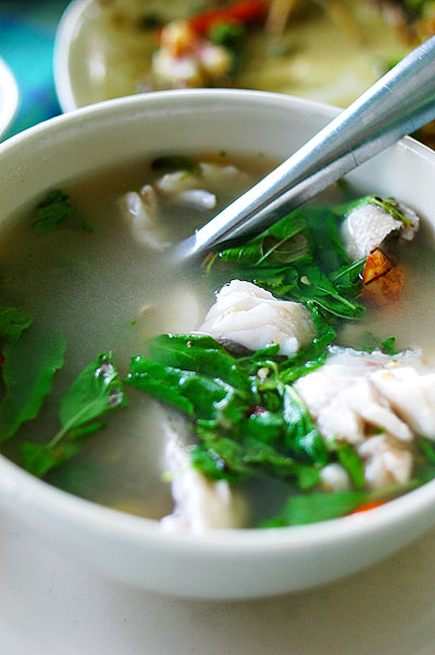 Soup with grouper, dried plum and holy basil, Baan Itsara, a seafood restaurant in Hua Hin