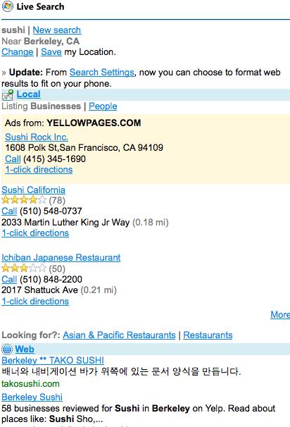 Live search Web