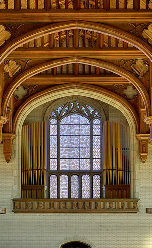Former Daughters of Charity chapel, at the University of Missouri - Saint Louis, in Normandy, Missouri, USA - pipe organ