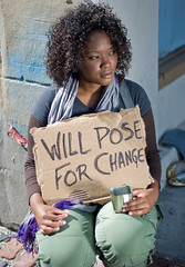 Will pose for change... (Rock.Solid.One) Tags: street portrait brick green beauty fashion scarf bench hair tampa 50mm grey eyes nikon purple florida gorgeous olive cargo heels fl vest nikkor ybor fla glamor 50mm18 trollystop willposeforchange