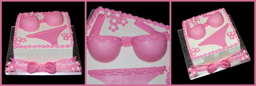 Pink bra and panties for a lingerie bridal shower - collage
