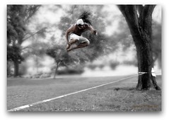 Slacklining (Ronaldo F Cabuhat) Tags: life park travel summer vacation people brown white newyork man black male sports colors dreadlocks canon happy person photography high force exercise action altitude longhair picture visit scene images health shorts strength extremesports bandana workout albanyny powerful leap thrill supreme slackline physique actionshot albanynewyork washingtonpark selectivecolor timing slacklining jumpshot freezeshot efs1755mmf28isusm canoneos50d canon50d cabuhat washingtonparkalbanyny